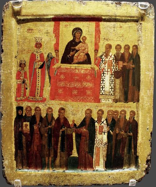 Torzhestvo_Pravoslaviya._Vizantiya._Konstantinopol._14v._39_h_31._Britanskij_muzej-499x600